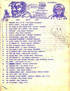 WUMB Playlist (1971-12-06). Click to view larger image.
