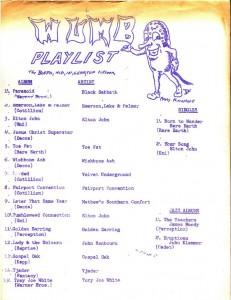 WUMB Playlist (ca 1971-1972)