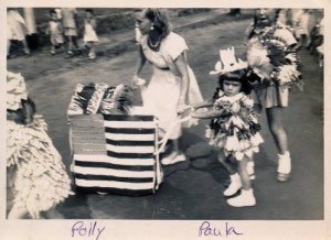 Doll carriage parade, 1950 'At one time every year, Cochituate had a doll carriage parade. Pictured: me and my daughter Paula Athanas. Contributor: Polly Athanas.'