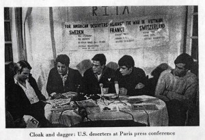 """Cloak and dagger: U.S. deserters at Paris press conference."" Newsweek. February 26, 1968."