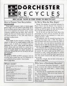 Dorchester Volunteers newsletter. Volume 1, No. 1. August 1990.