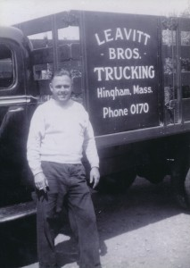 Leavitt Bros. Trucking, 1944. My dad, William Carlbon Leavitt, had a trucking business in the town Hingham since 1937. This truck was used to pick up cheese and butter to deliver to residents of Hingham during WWII. Contributor: Sandra Jean Leavitt Kentel.