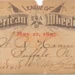 League of American Wheelmen membership card, 1897