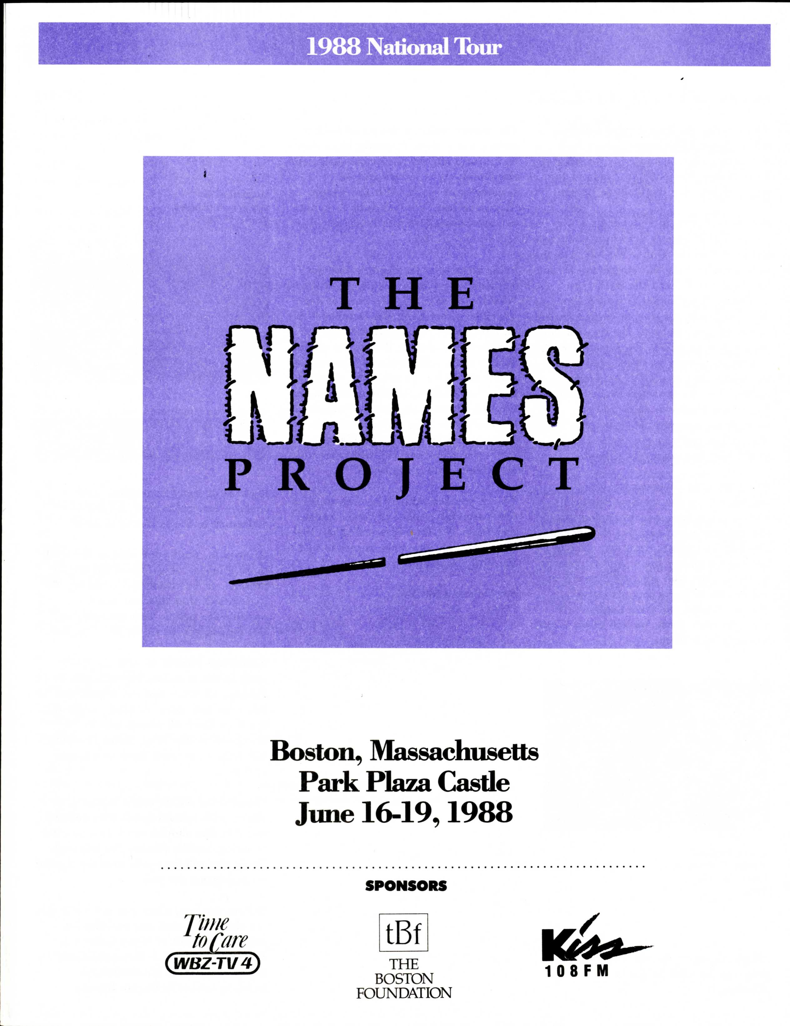 OPEN ARCHIVES NEWS | NAMES Project program book, 1988