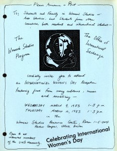 International Women's Day reception flyer, March 1983.