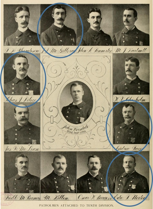 Four of the officers who went out on strike on Sept. 9, 1919. (Click to enlarge.)