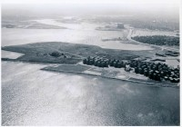 Aerial view of Columbia Point in Dorchester, the Columbia Point Housing Project and the Calf Pasture Pumping Station