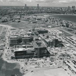 Construction on Columbia Point campus, early 1970s