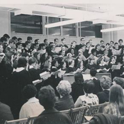 UMass Boston chorus performing at the university's original campus in Park Square