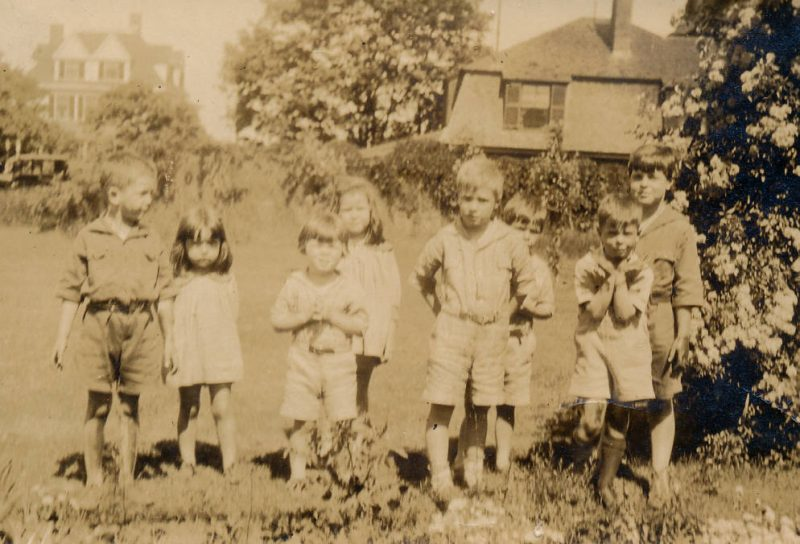 Gathering of summer playmates on grounds of Motley family home. These were my mom's generation of friends. Pictured, from left to right: Herbert Motley, Eleanor Warren Motley, George Richardson, Elizabeth Motley, Pierson Richardson, Elliot Richardson, David Devens, and Pat Devens.