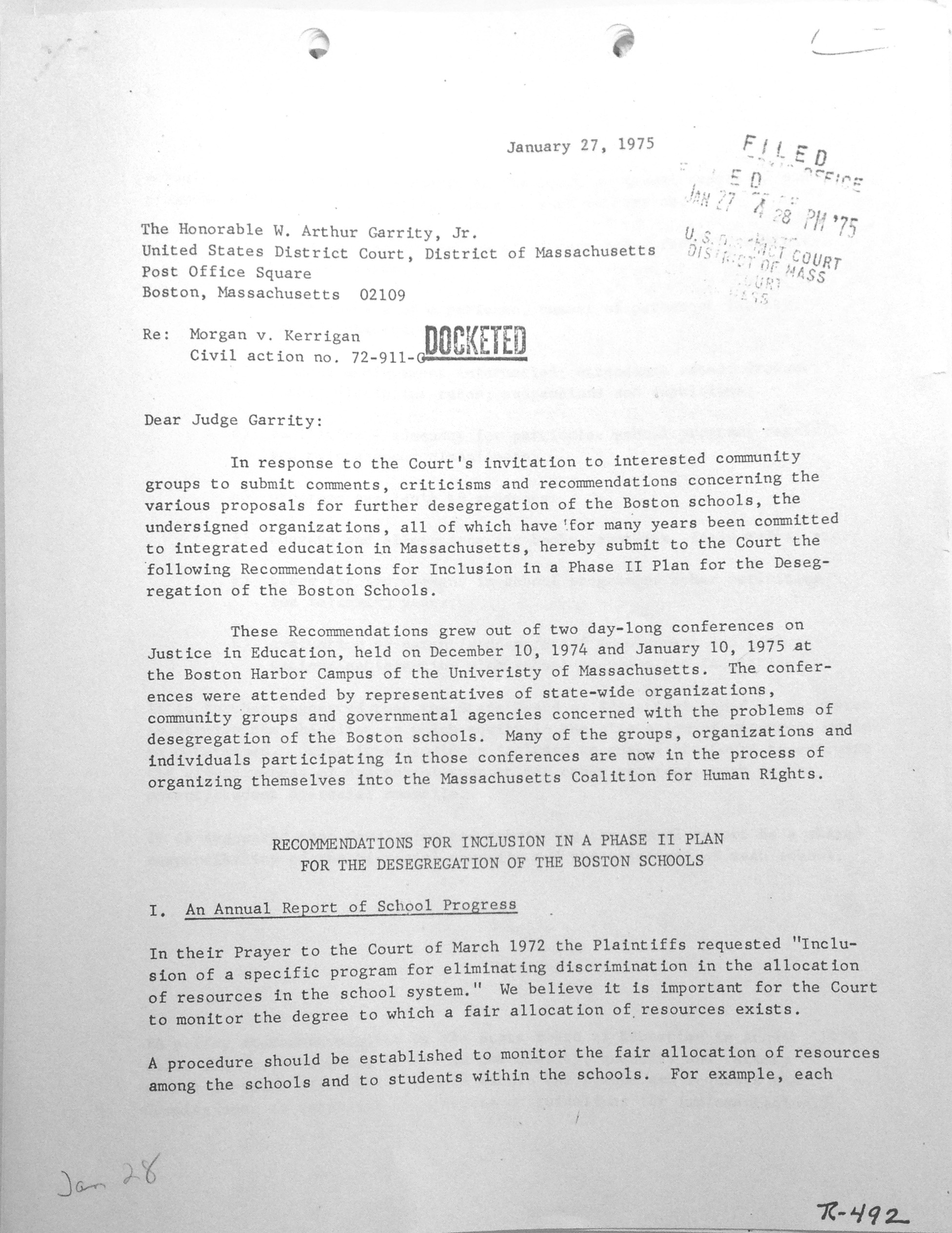 Center for Law and Education: Morgan v. Hennigan case records, Garrity correspondence, 1975