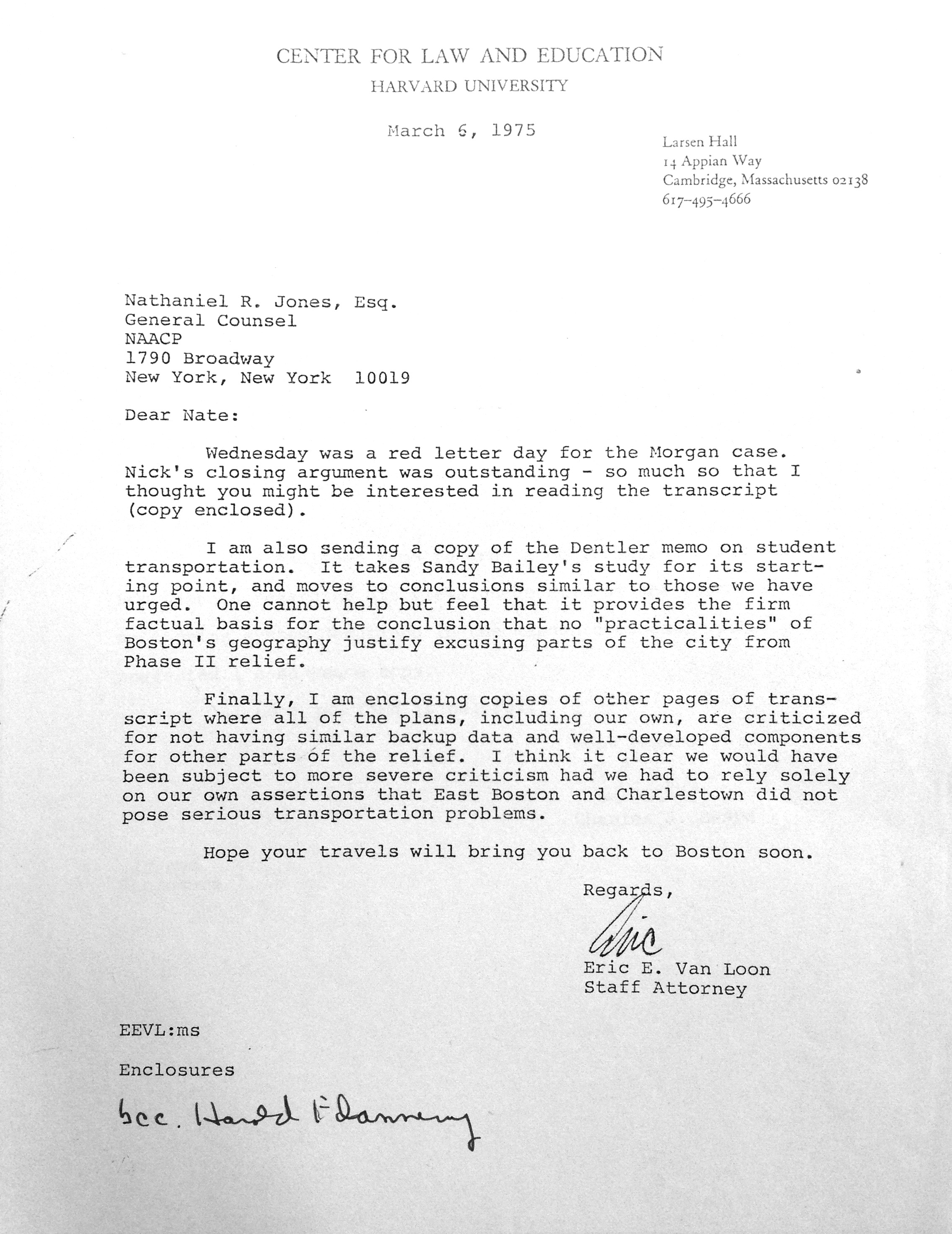 Center for Law and Education: Morgan v. Hennigan case records, NAACP correspondence, 1975