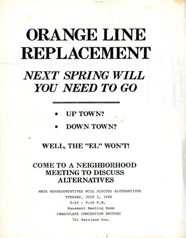 Orange Line replacement flyer, 1986