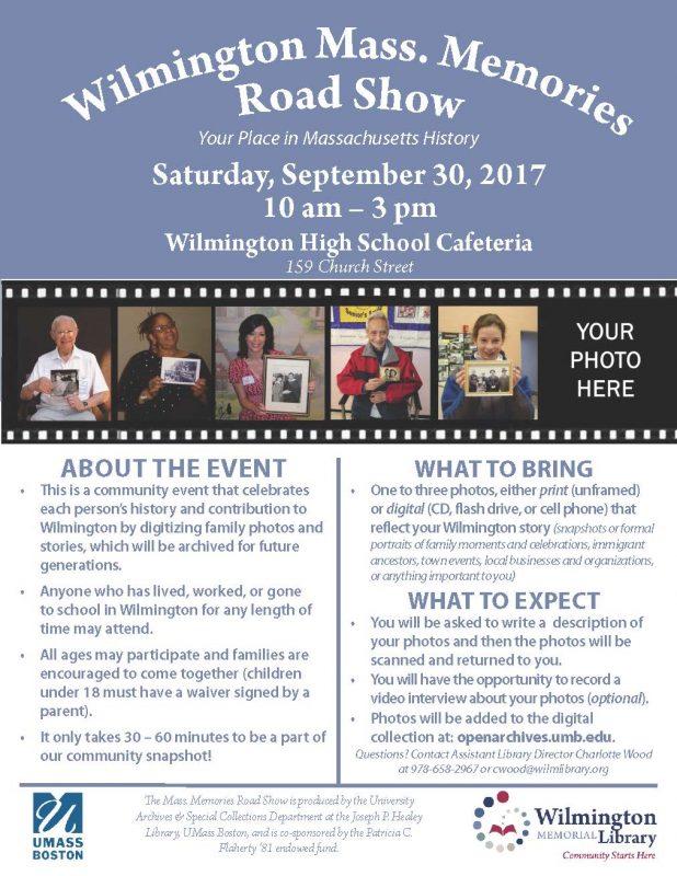 Wilmington Mass. Memories Road Show flyer
