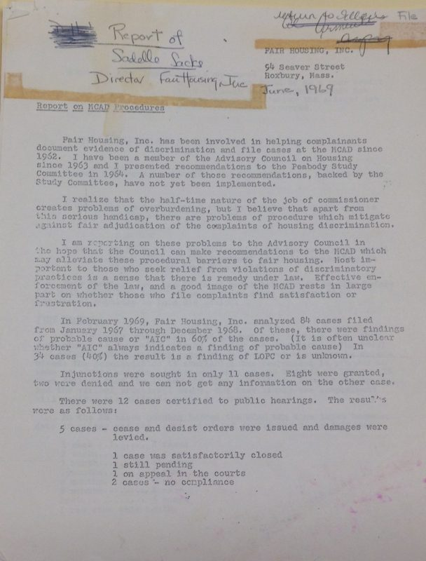 Ma Federation for Fair Housing and Equal Rights: Report on MA Commission Against Discrimination Procedures, 1969 June