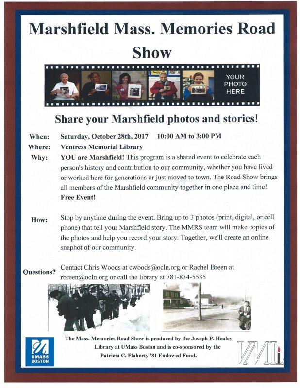 Marshfield Mass. Memories Road Show flyer