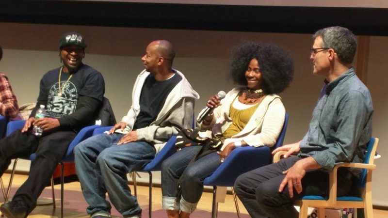 Edo G, Tony Rhome, Lisa Lee, and Pacey Foster speak on a panel as part of the launch event for the Massachusetts Hip-Hop Archive in November 2016.