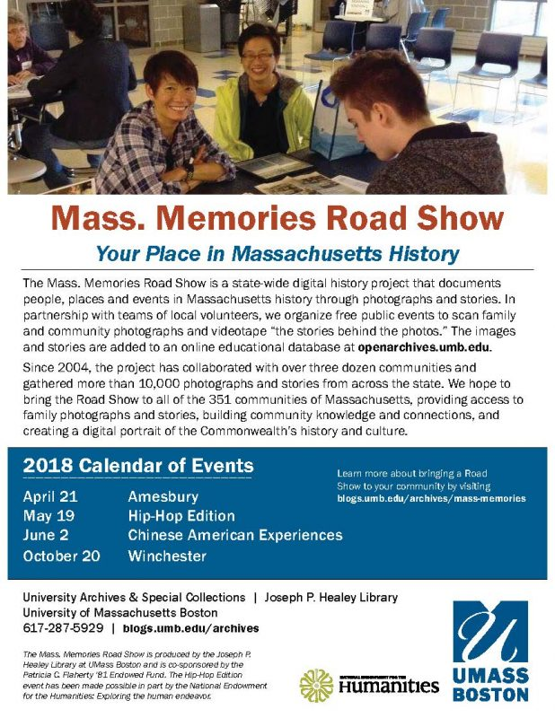 Mass. Memories Road Show flyer, 2018