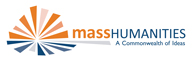 Logo for Mass Humanities in orange and blue.
