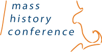 Logo: Mass History Conference in blue text, artistic sketch of Massachusetts outline in orange, white background