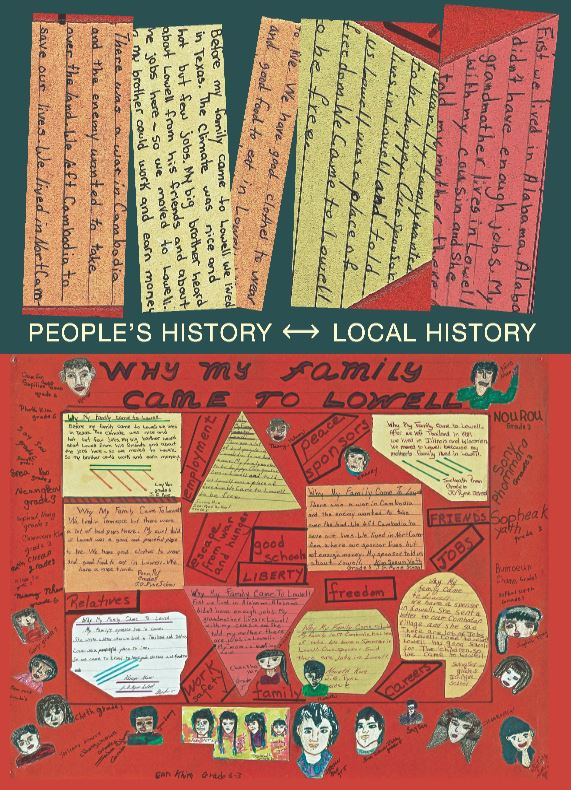 """Front of Mass History Conference postcard: top half has black background with """"people's history - local history"""" text; bottom half has red background with children's drawings and """"why my family came to Lowell"""" handwritten text"""