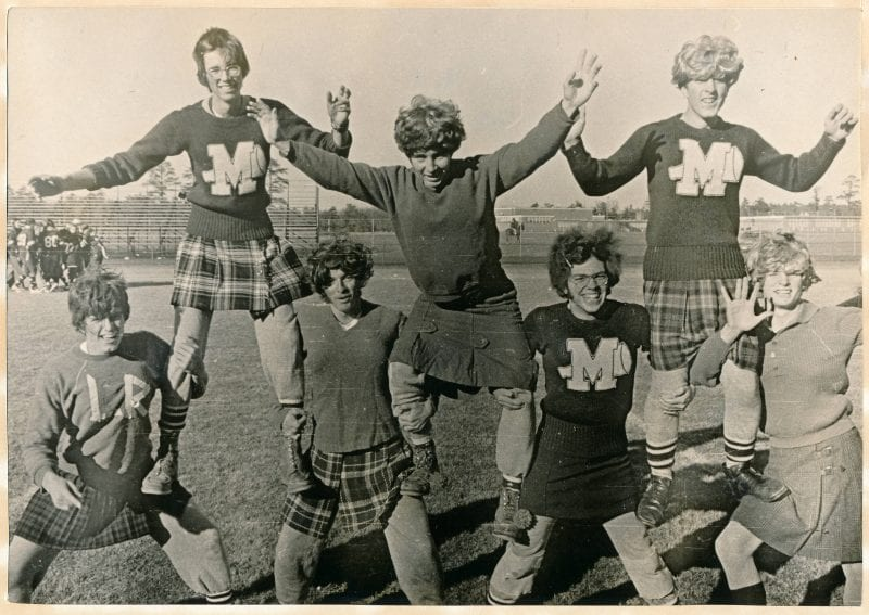 Little Rams, 1973. Friends in high school cheering on girls' Powder Puff football game. Pictured, from left to right: myself Ned Bangs, Contributor: Ned Bangs.