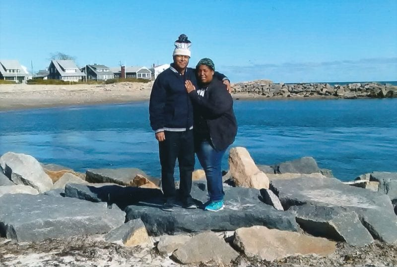 'When we arrived, 2016. The first day we arrived in Marshfield from Puerto Rico. We loved to be near the ocean since we came from an island. Pictured: my husband Edward Sanchez and myself Ana Delgado. Location: Green Harbor.""