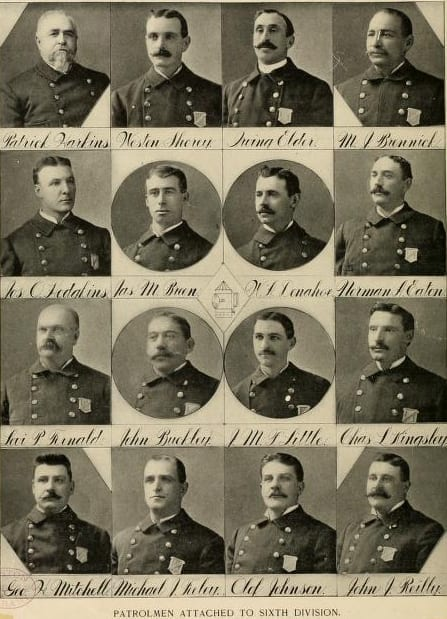 Patrolmen attached to the Sixth Division, 1901 Boston Police Department Yearbook. At least one of these officers, Joseph O. Hodgkins, was a striker.