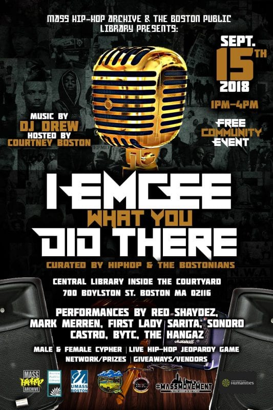 """I Emcee What You Did There"" Hip Hop Event flyer"