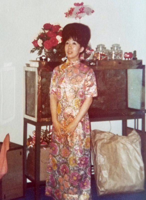 Modern take on traditional Chinese dress Description 'Mary is wearing a traditional Chinese dress, 'cheongsam', that has been modernized to the 1970s. Pictured: my grandmother Mary Soo Hoo.'