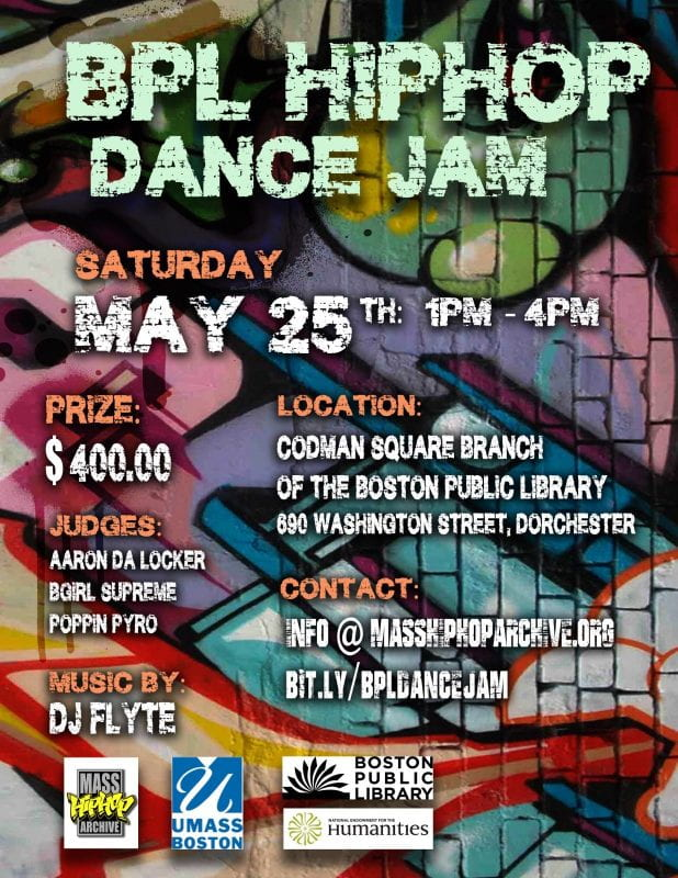 Flyer for BPL HIPHOP DANCE JAM event at the Codman Square branch of the Boston Public Library