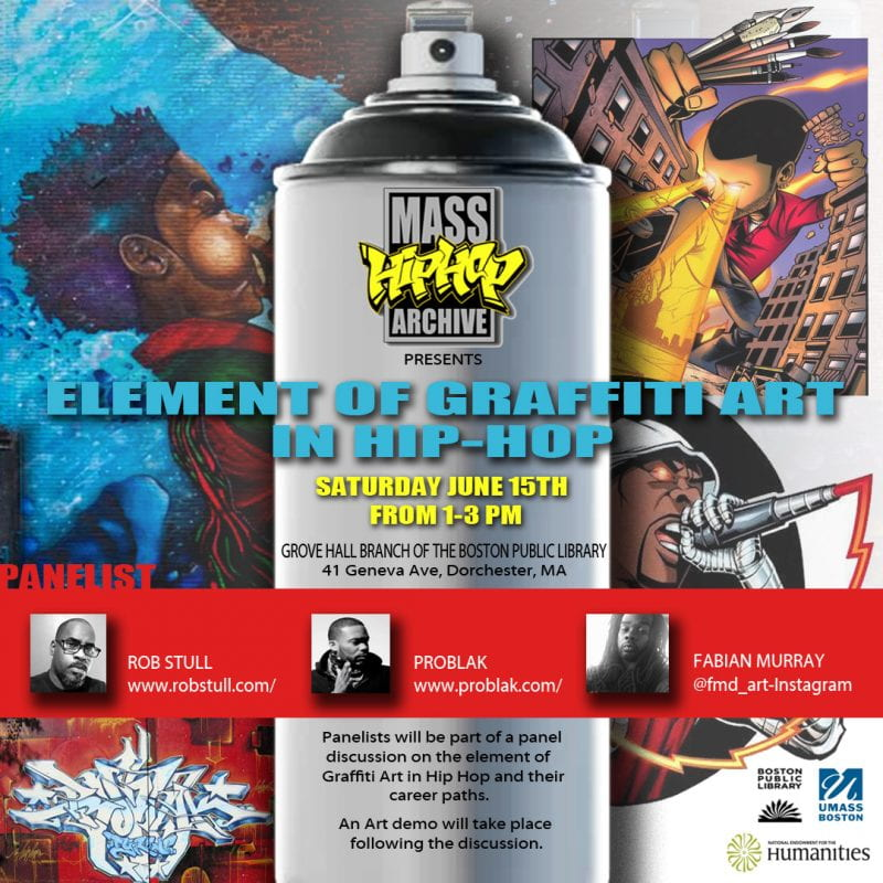 Flyer for BPL graffiti art event at the Grove Hall branch of the Boston Public Library