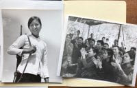 Two black and white photographs depicting Vietnamese women soldiers, date unknown