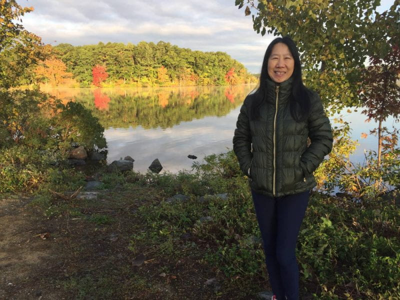 An immigrant story. 'We walked every Saturday and Sunday morning around Horn Pond. Yan was born in China and immigrated in the early 1990s when her husband went to the Fletcher School at Tufts. She had a small baby boy at the time she moved here, and they soon had another son. She now works for a technology company in Cambridge and regularly visits her family in China. Pictured: my friend Yan Yao. Location: Horn Pond.'
