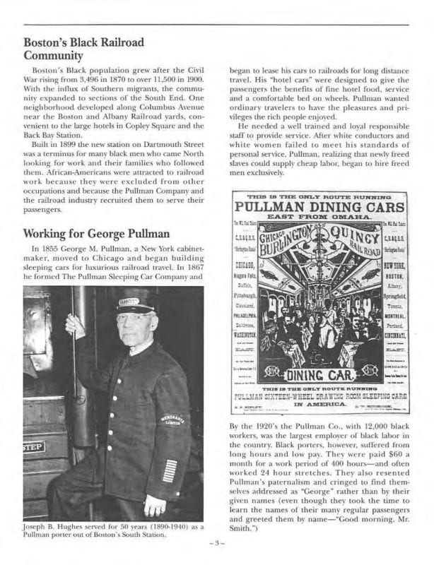 A page from the Knights of the Rail exhibit guide with a photo of George Pullman
