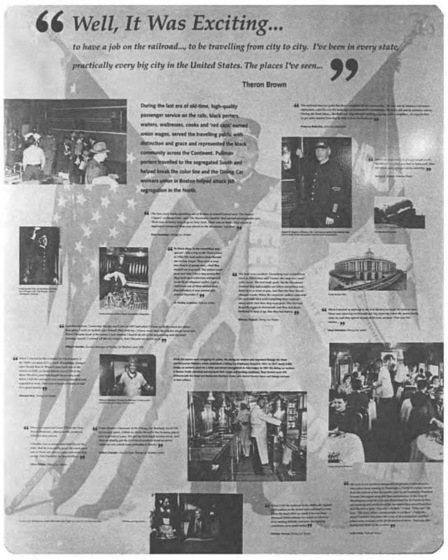 Exhibit guide page with photos and quotes from the Pullman Porters interviews