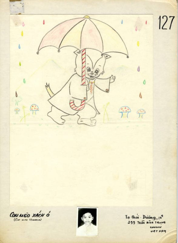 Child's drawing: a smiling cat holding an umbrella in the rain