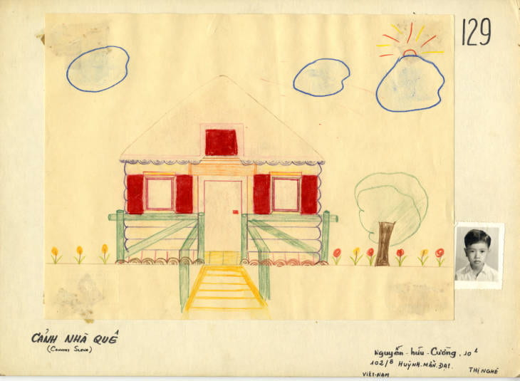 Child's drawing: a house with clouds and a tree