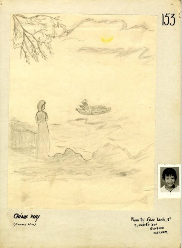 Child's drawing: a woman standing and a person rowing a boat