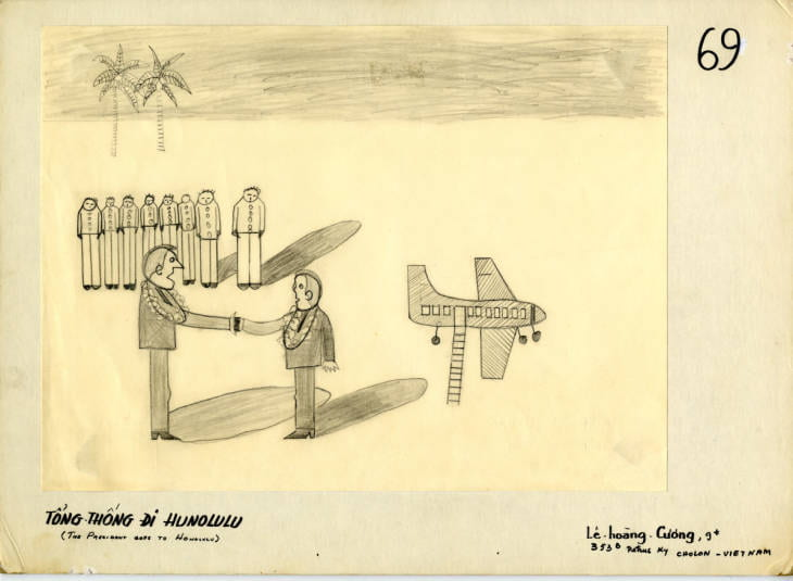 Children's drawing: two men shake hands with soldiers and a plane in the background