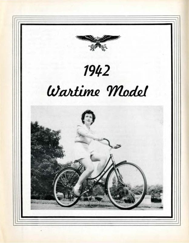 Black and white photograph of woman on bicycle under a heading that reads 1942 Wartime Model