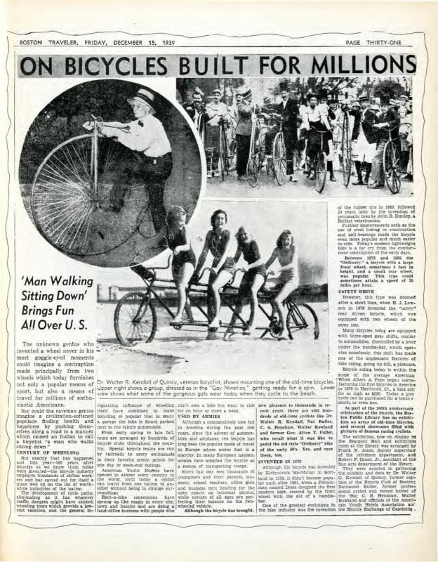 Newspaper article that includes a number of black and white photographs of people on different kinds of bicycles.