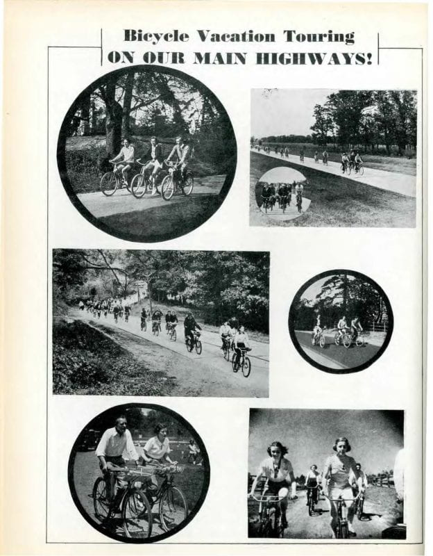 Six different black and white photographs of people on bicycles under the heading Bicycle Vacation Touring on Our Main Highways!