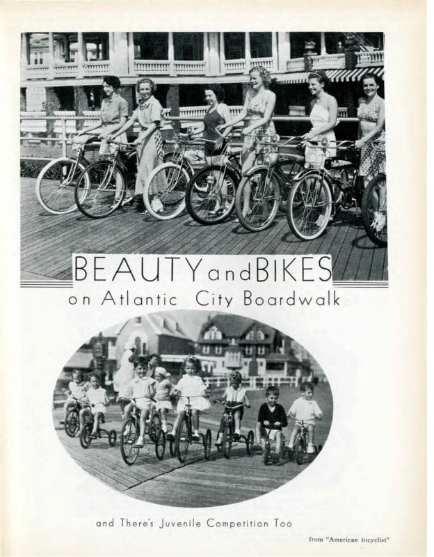Two black and white photographs of women and children on bicycles.