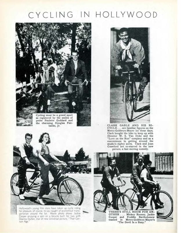 Four black and white photographs of people right bicycles under the heading Cycling in Hollywood.