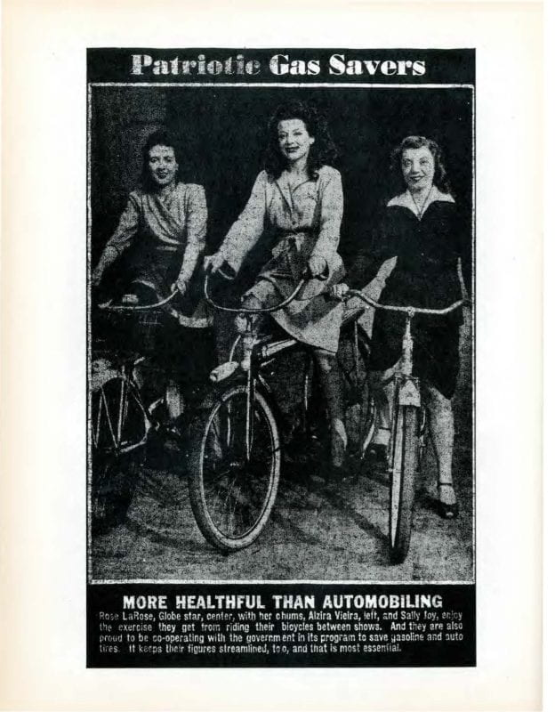 Black and White photograph of women on bicycles under the heading Patriotic Gas Savers.