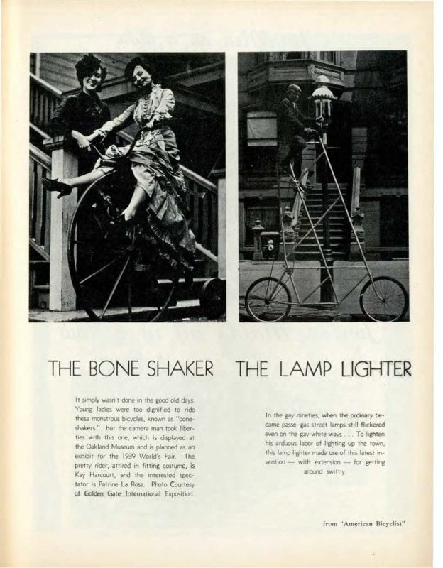 "One black and white photograph of two women next to a ""Bone Shaker"" bicycle and one black and white photograph of a man on a ""Lamp Lighter"" bicycle."