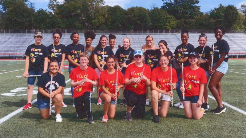 Flute section of Brockton High marching band