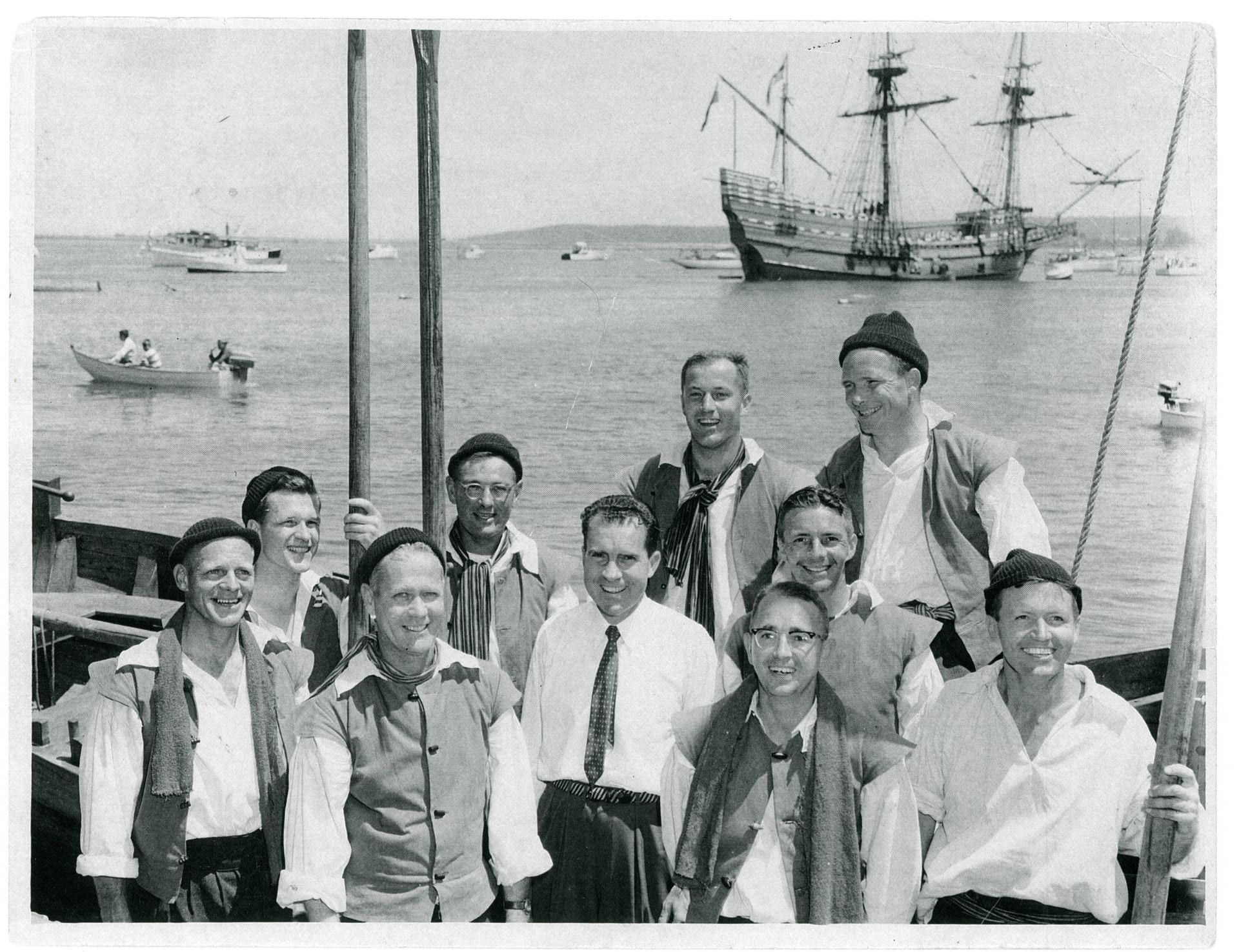 The crew that rowed the Shallop ashore, 1957