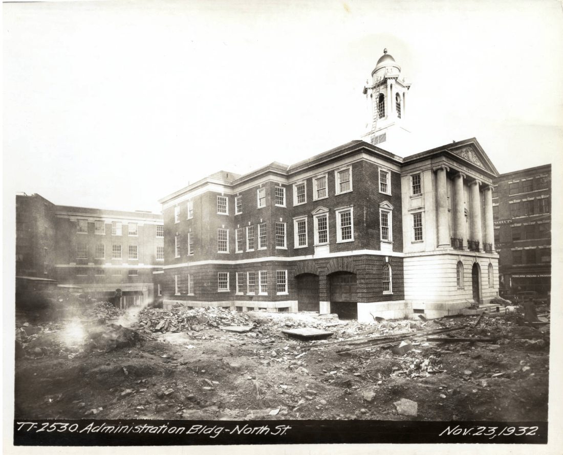 Black-and-white photo of the exterior of the Administration Building on North Street